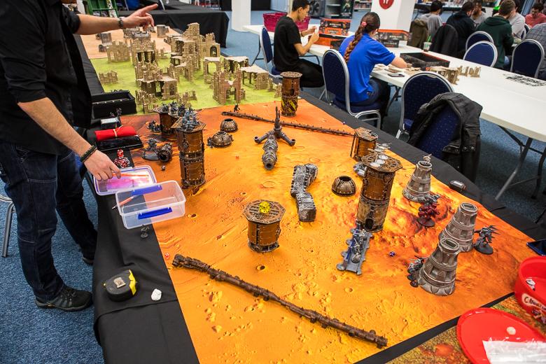 Dark Sphere gaming tables set up scenery